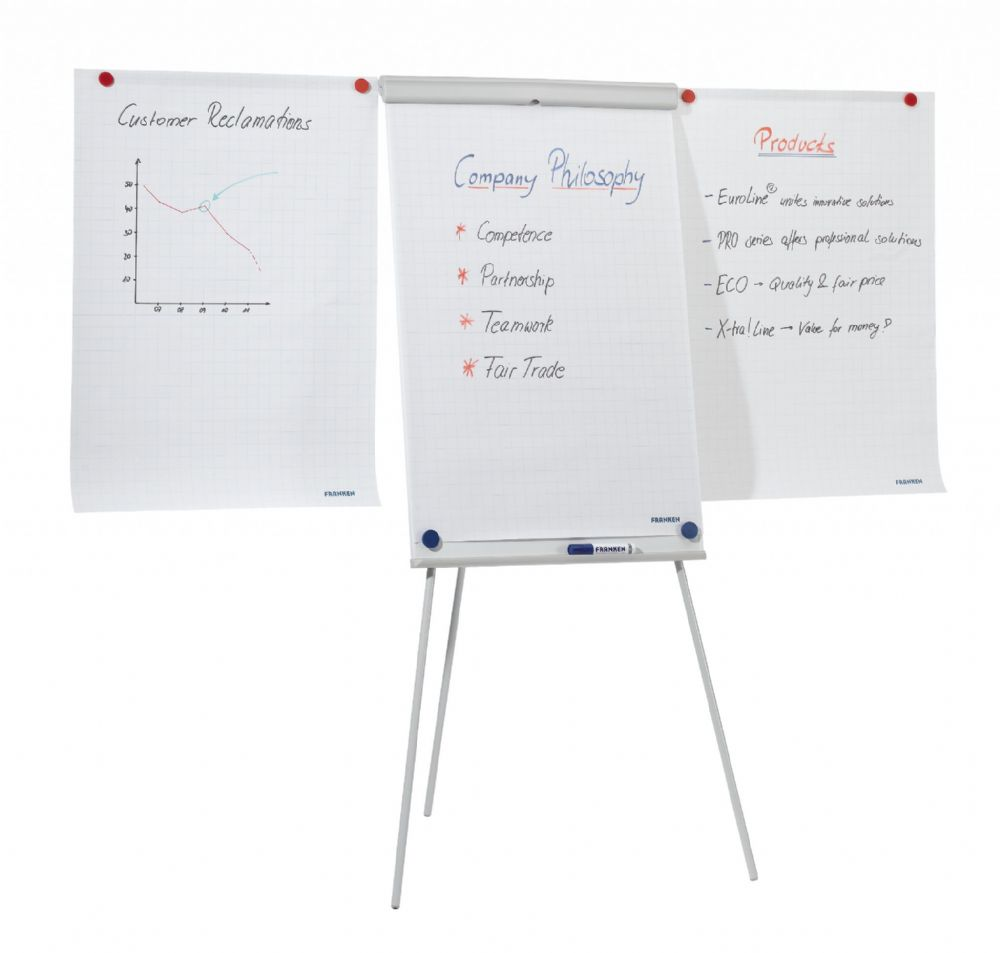 Franken Tripod Flipchart Easel Magnetic with optional 2 extendable arms available. 68cm x 105cm